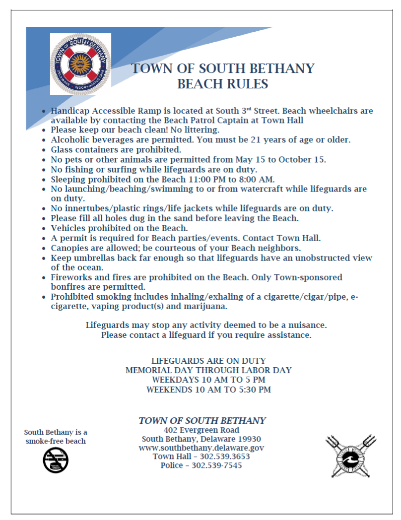 Image: Town of South Bethany Beach Rules
